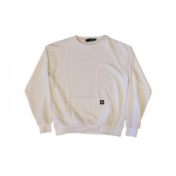White crewneck with front pocket