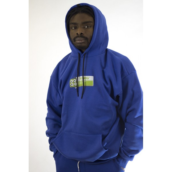 Blue Super Oversized Hoodie With Front Print