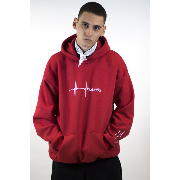 Red Super Oversized Hoodie With Sleeve And Front Print