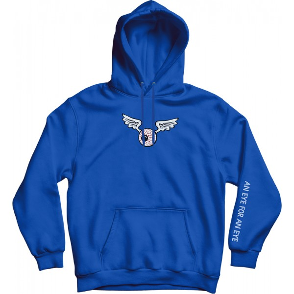 Blue Oversized Hoodie With Embroidered Chest Logo