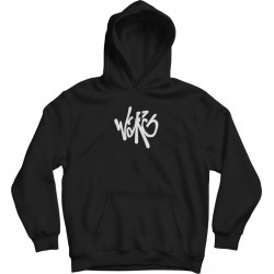 Black Oversized Hoodie With Embroidered Chest Warg Font