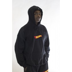 Black Oversized Hoodie With Embroidered Chest Logo
