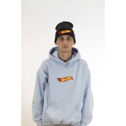 Light Blue Oversized Hoodie With Embroidered Chest Logo