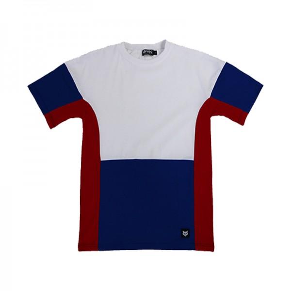 White Dropshoulder T-Shirt with Colour Block Panels